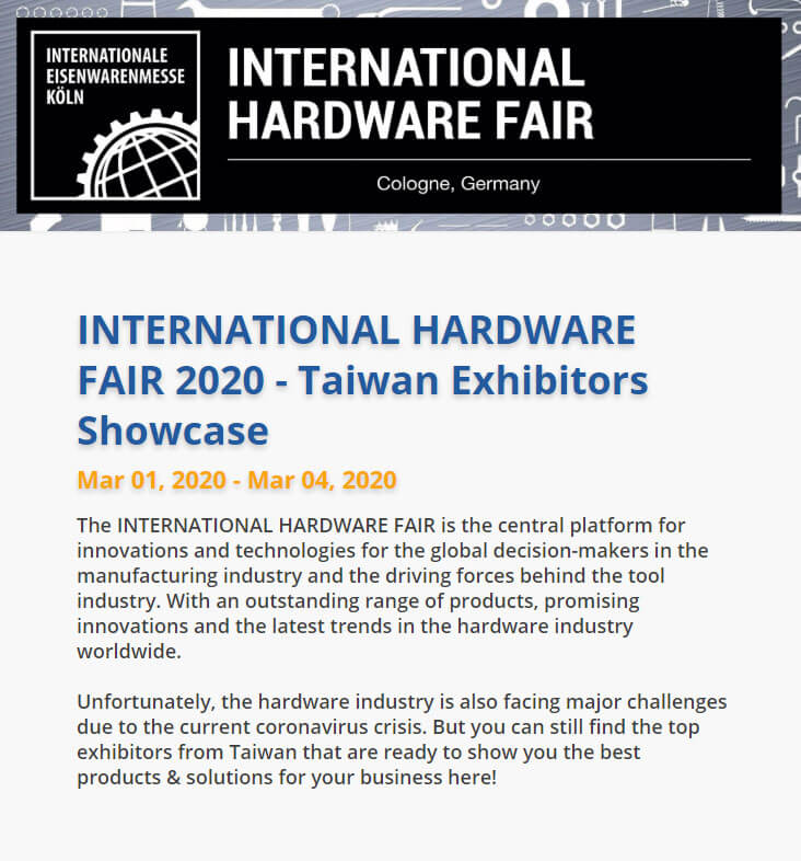 INTERNATIONAL HARDWARE FAIR  2020
